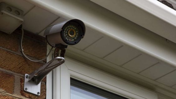A CCTV camera ona outside wall